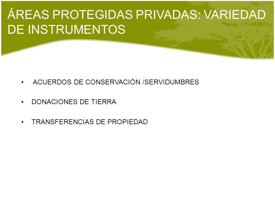 ÁREAS PROTEGIDAS PRIVADAS: VARIEDAD DE INSTRUMENTOS