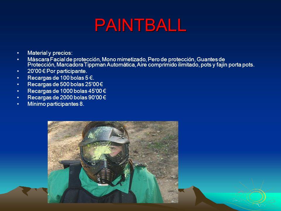 PAINTBALL Material y precios: