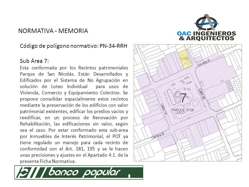 NORMATIVA - MEMORIA Código de polígono normativo: PN-34-RRH