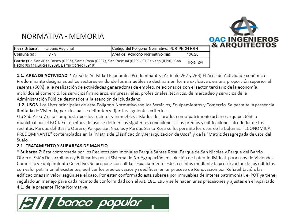 NORMATIVA - MEMORIA Pieza Urbana : Urbano Regional. Código del Polígono Normativo: PUR-PN-34 RRH.