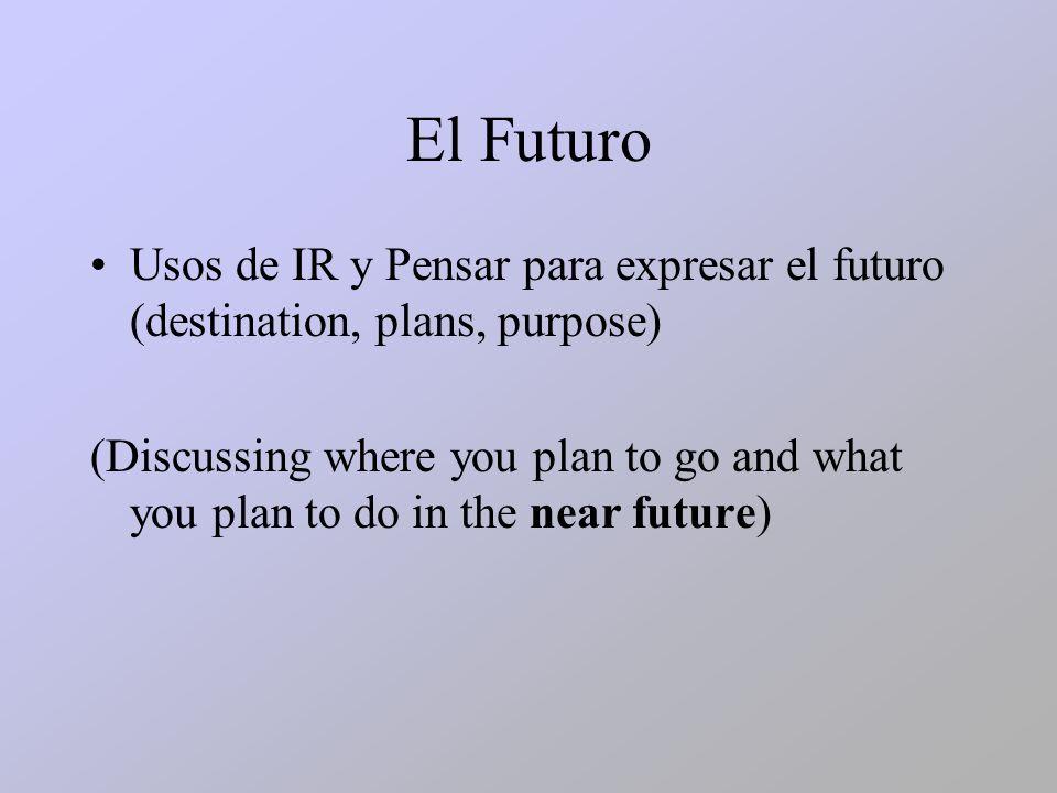 El Futuro Usos de IR y Pensar para expresar el futuro (destination, plans, purpose)