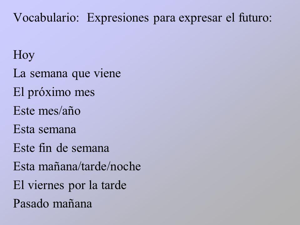 Vocabulario: Expresiones para expresar el futuro: