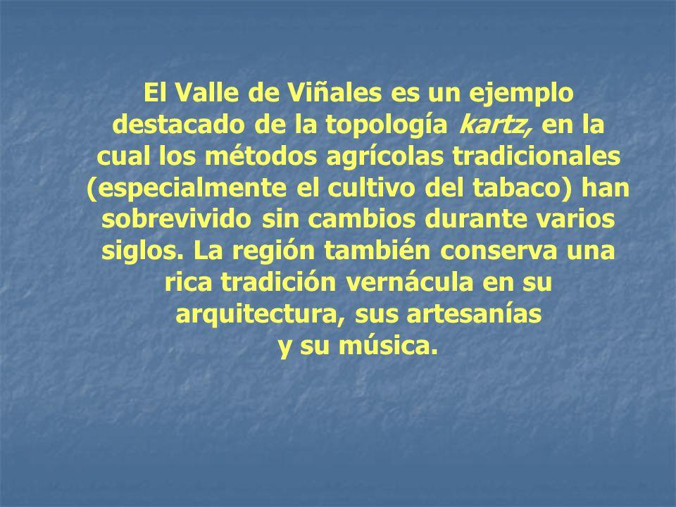 El Valle de Viñales es un ejemplo destacado de la topología kartz, en la cual los métodos agrícolas tradicionales (especialmente el cultivo del tabaco) han sobrevivido sin cambios durante varios siglos. La región también conserva una rica tradición vernácula en su arquitectura, sus artesanías
