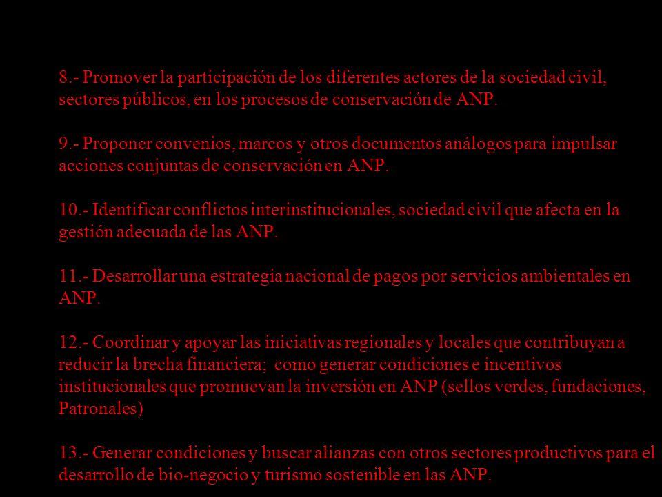 8.- Promover la participación de los diferentes actores de la sociedad civil, sectores públicos, en los procesos de conservación de ANP.