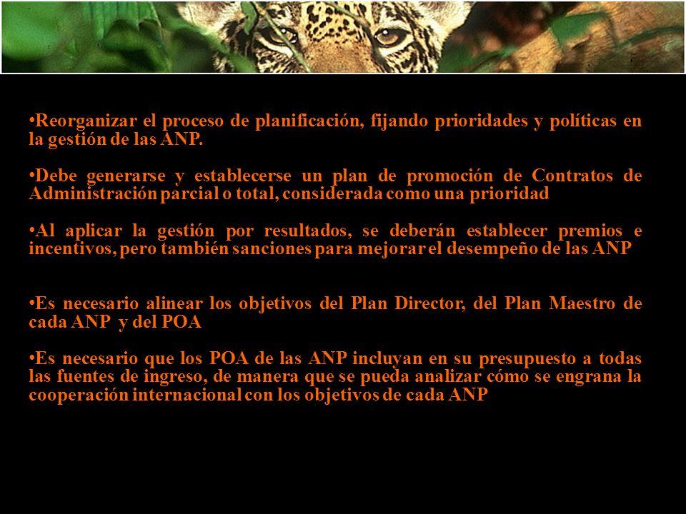Reorganizar el proceso de planificación, fijando prioridades y políticas en la gestión de las ANP.