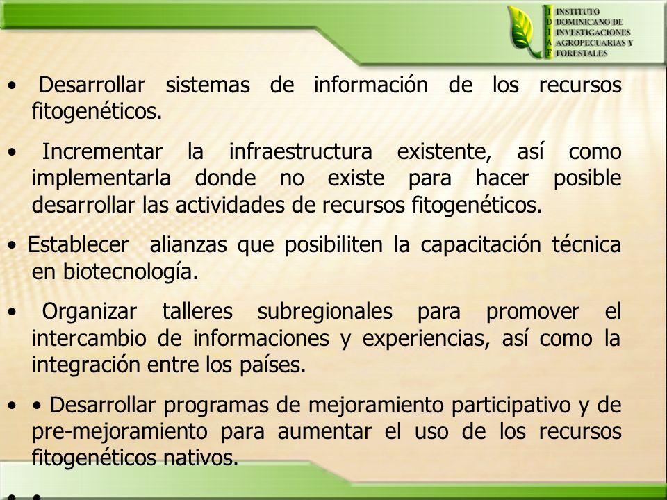 Desarrollar sistemas de información de los recursos fitogenéticos.