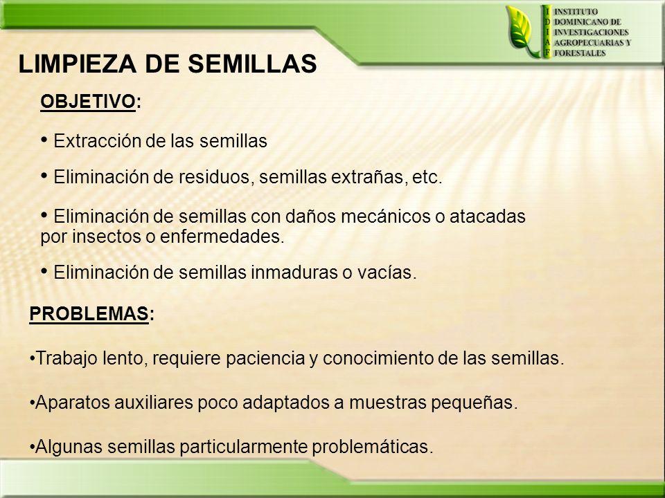 LIMPIEZA DE SEMILLAS OBJETIVO: Extracción de las semillas