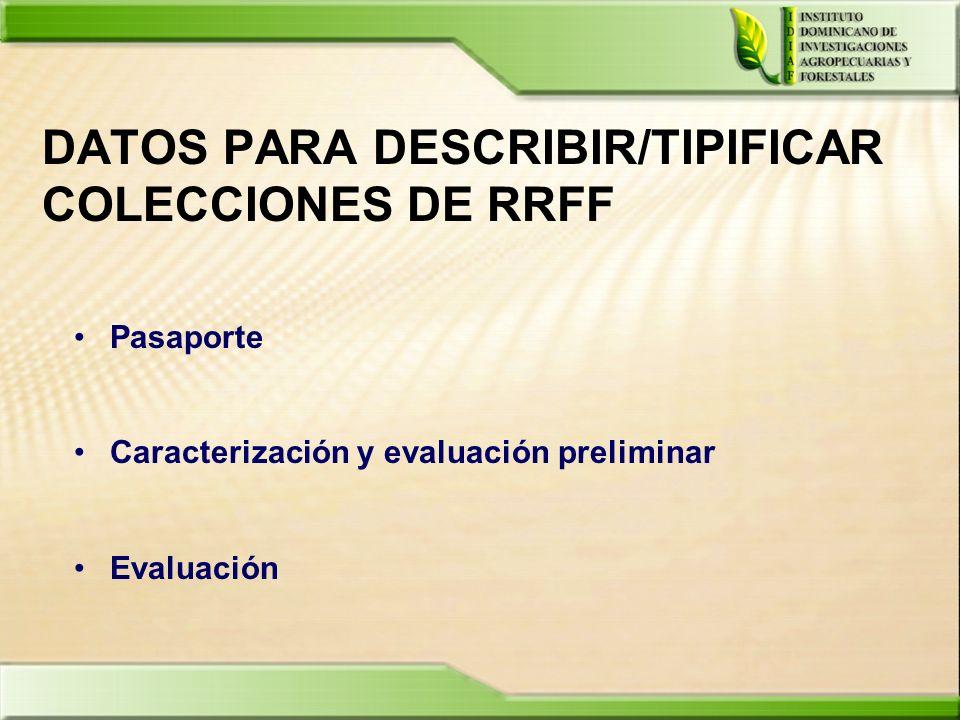 DATOS PARA DESCRIBIR/TIPIFICAR COLECCIONES DE RRFF