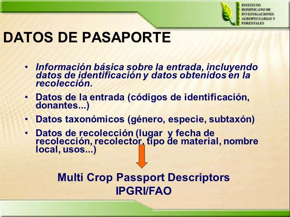 Multi Crop Passport Descriptors IPGRI/FAO