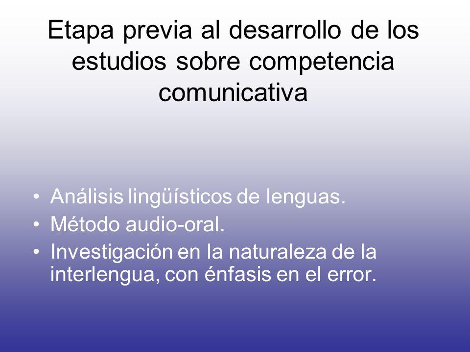 Etapa previa al desarrollo de los estudios sobre competencia comunicativa