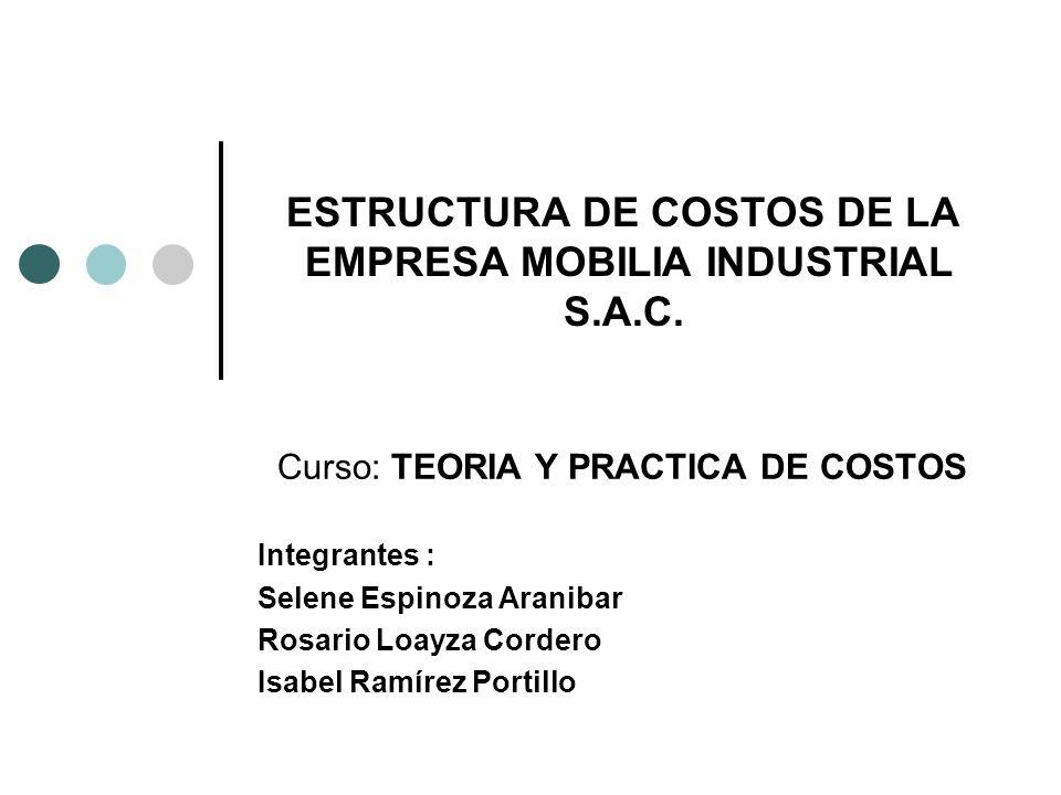 ESTRUCTURA DE COSTOS DE LA EMPRESA MOBILIA INDUSTRIAL S.A.C.