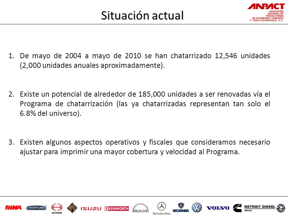Situación actualDe mayo de 2004 a mayo de 2010 se han chatarrizado 12,546 unidades (2,000 unidades anuales aproximadamente).