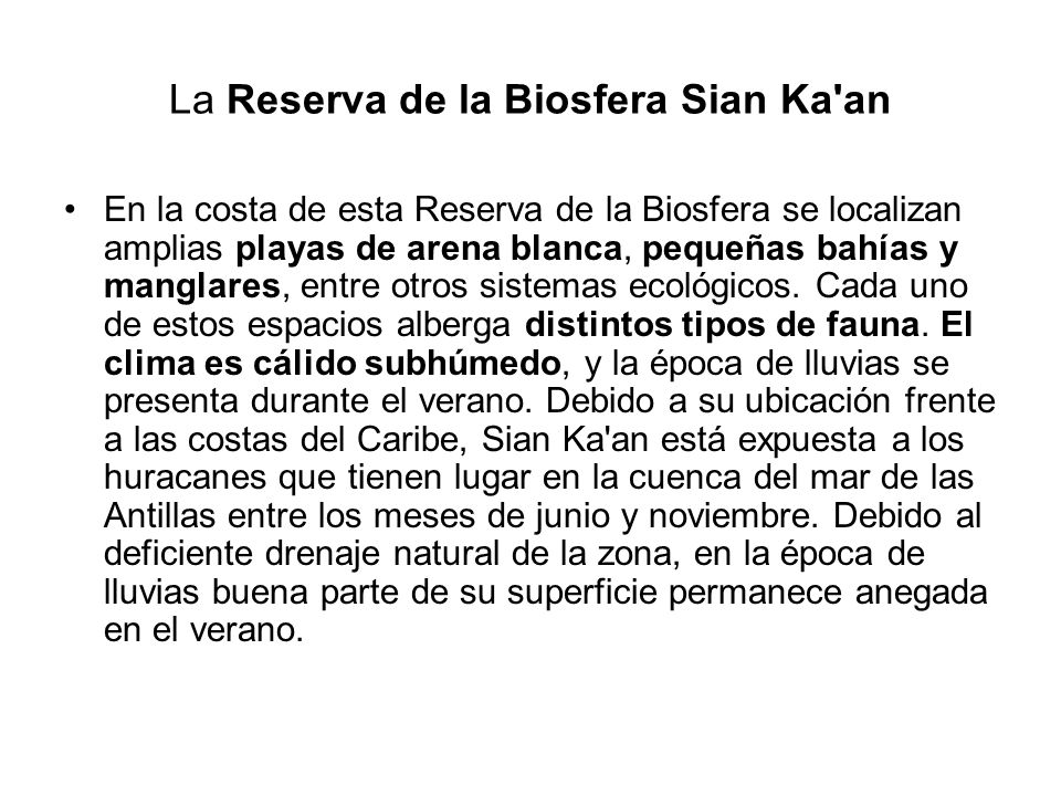 La Reserva de la Biosfera Sian Ka an