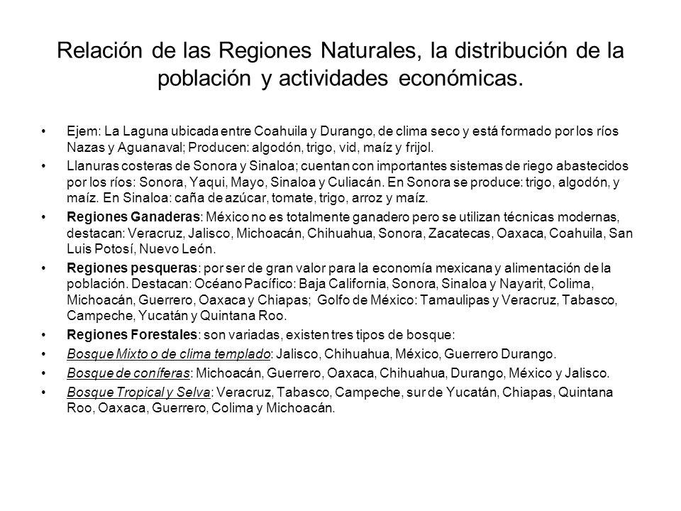 Relación de las Regiones Naturales, la distribución de la población y actividades económicas.