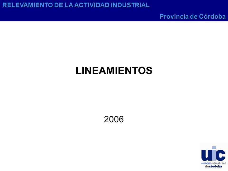 LINEAMIENTOS 2006 RELEVAMIENTO DE LA ACTIVIDAD INDUSTRIAL