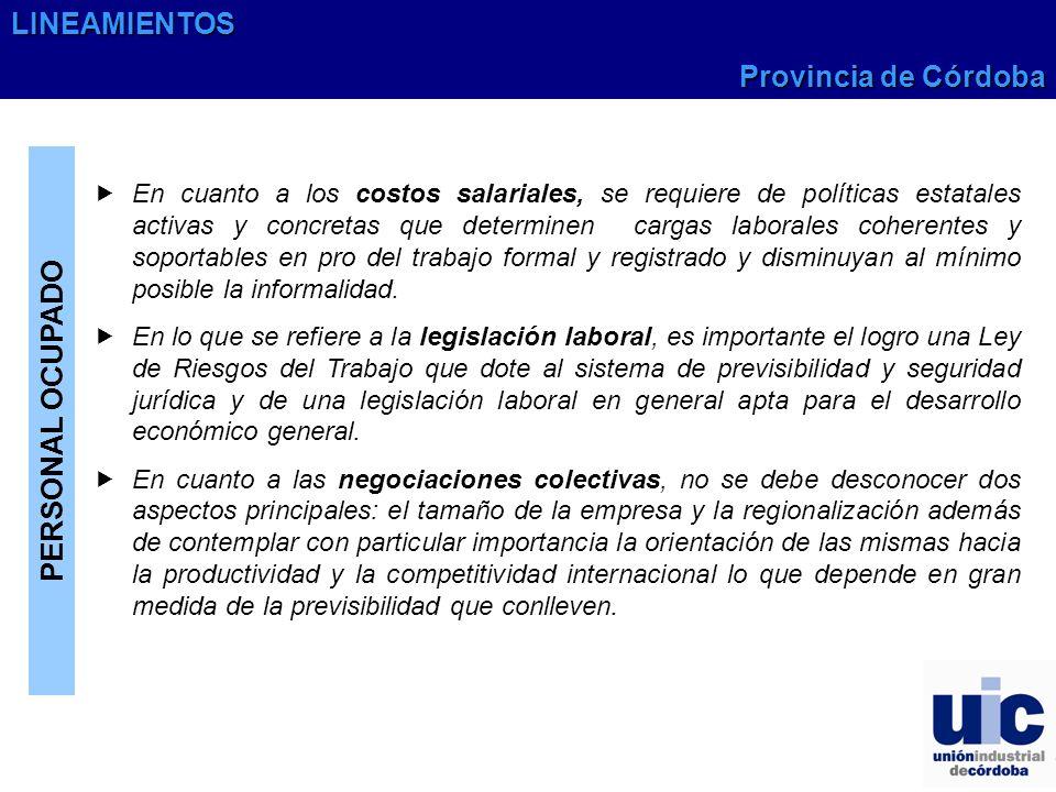 LINEAMIENTOS Provincia de Córdoba PERSONAL OCUPADO
