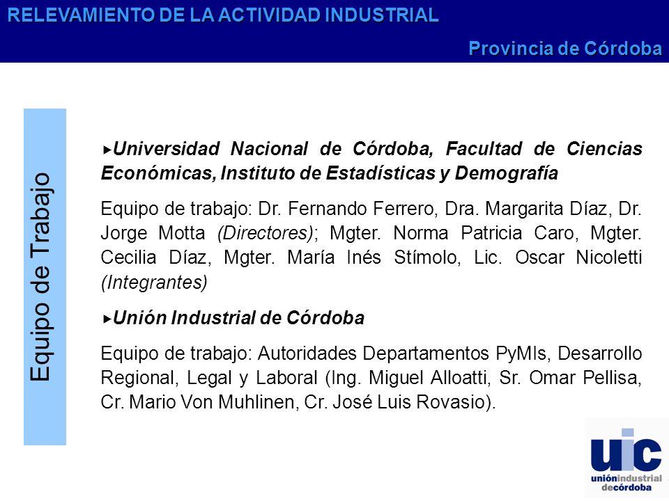 Equipo de Trabajo RELEVAMIENTO DE LA ACTIVIDAD INDUSTRIAL
