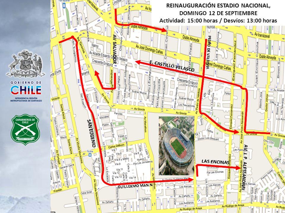 REINAUGURACIÓN ESTADIO NACIONAL, DOMINGO 12 DE SEPTIEMBRE