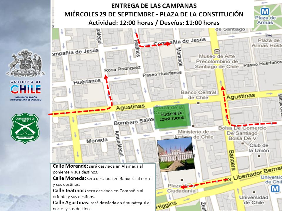 ENTREGA DE LAS CAMPANAS Actividad: 12:00 horas / Desvíos: 11:00 horas