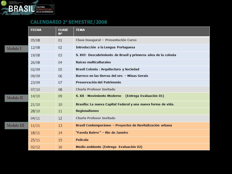 CALENDARIO 2° SEMESTRE/2008