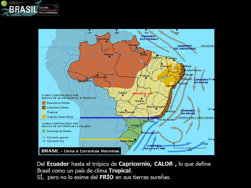 Del Ecuador hasta el trópico de Capricornio, CALOR , lo que define Brasil como un país de clima Tropical.