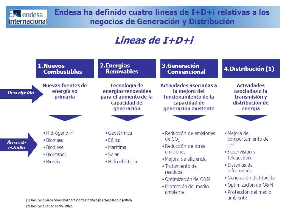 Endesa ha definido cuatro líneas de I+D+i relativas a los negocios de Generación y Distribución