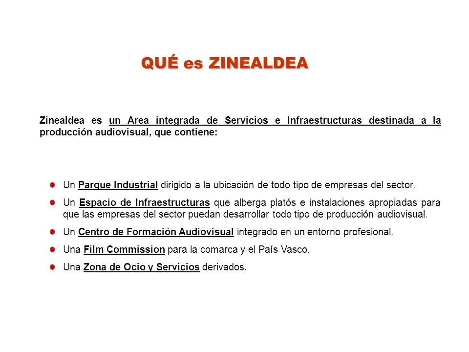 QUÉ es ZINEALDEA Zinealdea es un Area integrada de Servicios e Infraestructuras destinada a la producción audiovisual, que contiene: