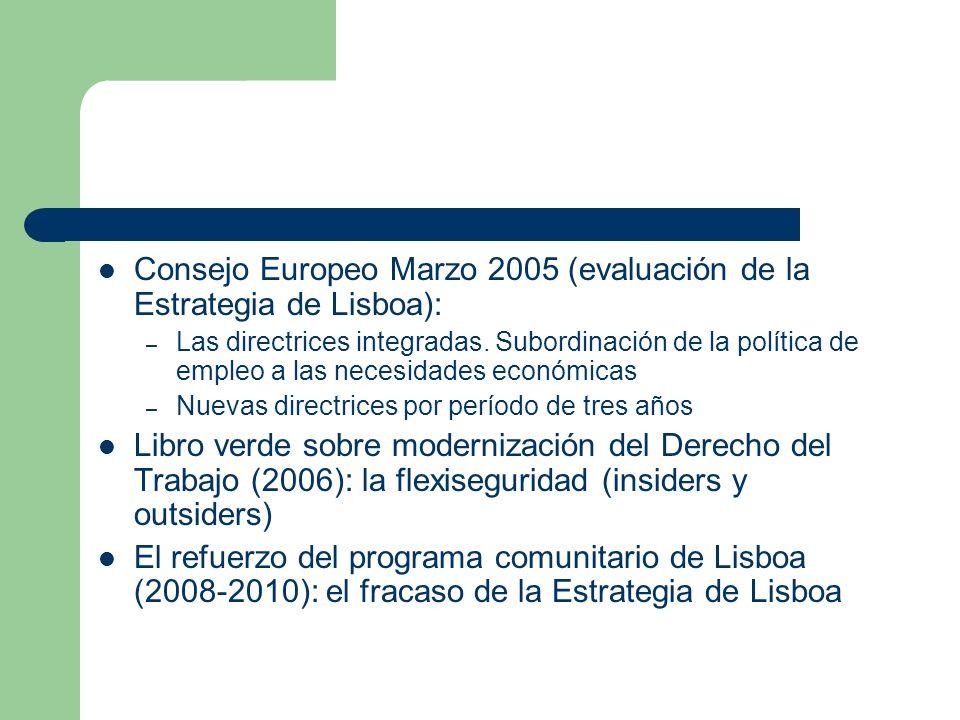 Consejo Europeo Marzo 2005 (evaluación de la Estrategia de Lisboa):