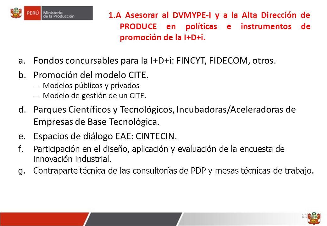 Fondos concursables para la I+D+i: FINCYT, FIDECOM, otros.