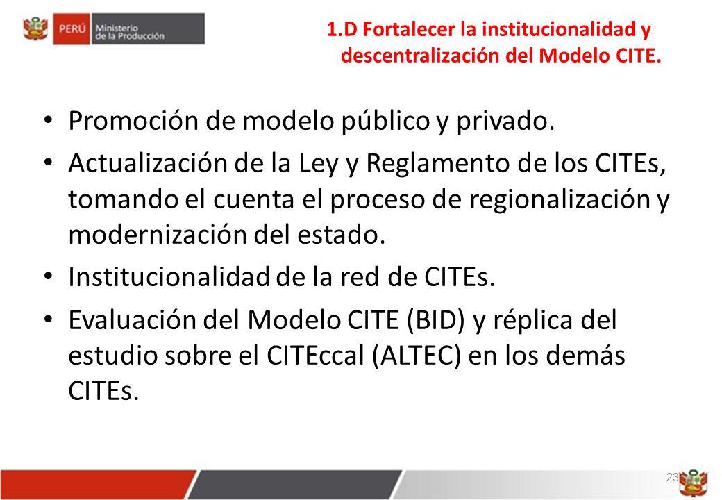 Promoción de modelo público y privado.