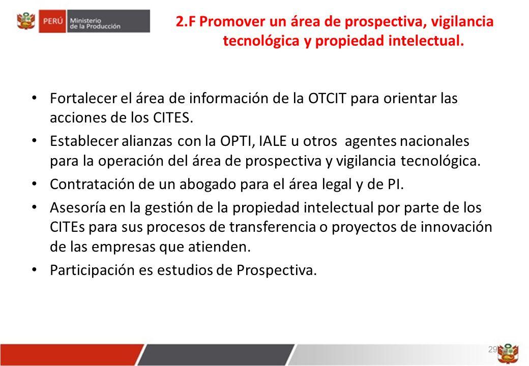 2.F Promover un área de prospectiva, vigilancia tecnológica y propiedad intelectual.