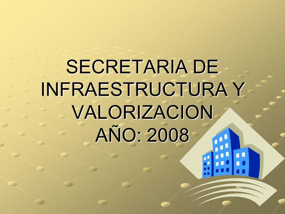 SECRETARIA DE INFRAESTRUCTURA Y VALORIZACION AÑO: 2008