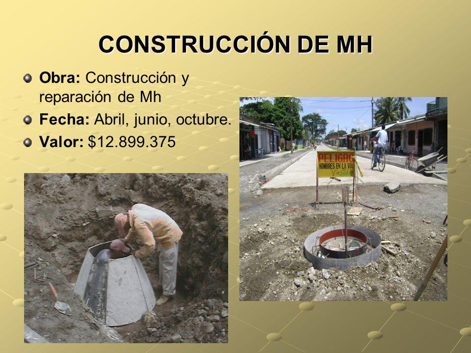 CONSTRUCCIÓN DE MH Obra: Construcción y reparación de Mh