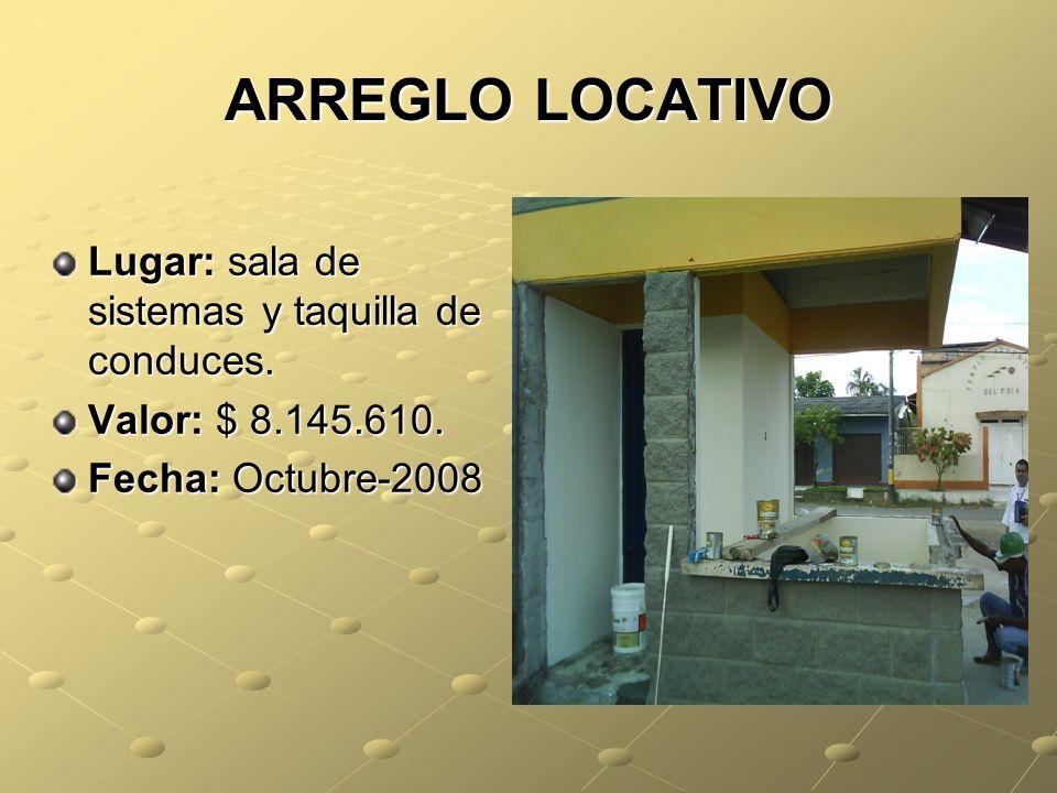 ARREGLO LOCATIVO Lugar: sala de sistemas y taquilla de conduces.