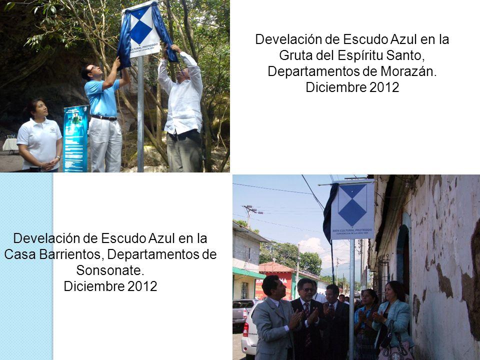 Develación de Escudo Azul en la Gruta del Espíritu Santo, Departamentos de Morazán.