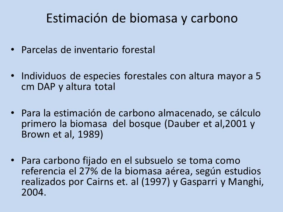 Estimación de biomasa y carbono