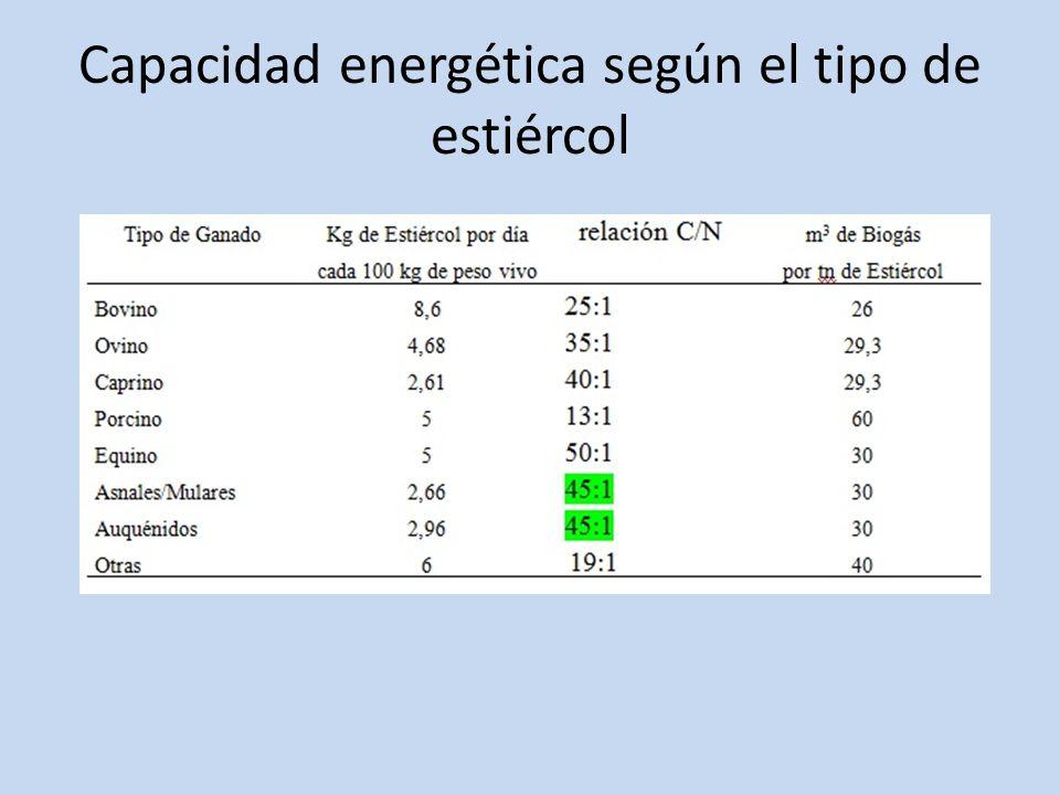 Capacidad energética según el tipo de estiércol