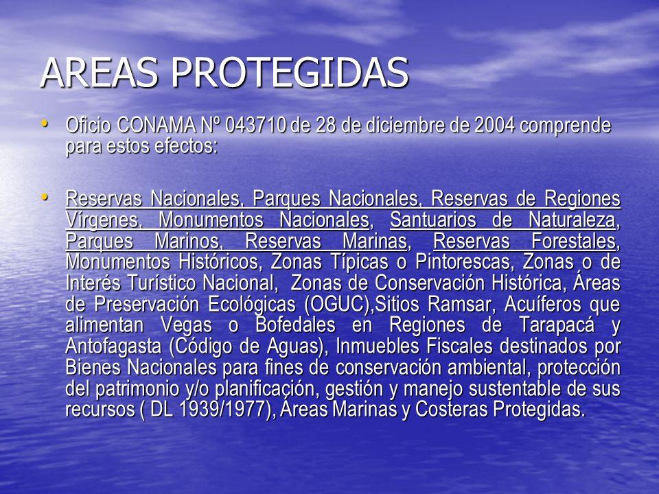 AREAS PROTEGIDAS Oficio CONAMA Nº 043710 de 28 de diciembre de 2004 comprende para estos efectos: