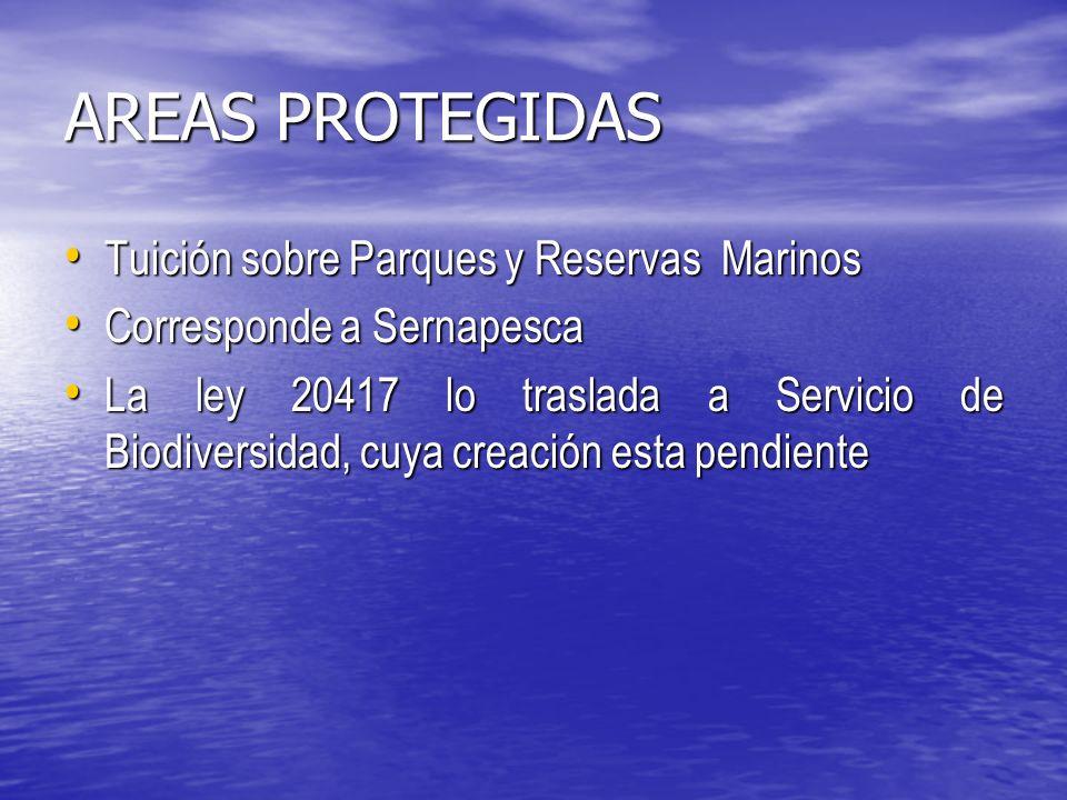 AREAS PROTEGIDAS Tuición sobre Parques y Reservas Marinos