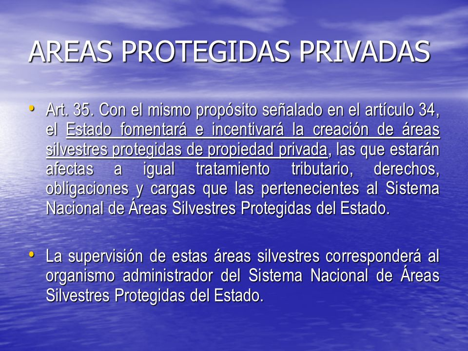 AREAS PROTEGIDAS PRIVADAS