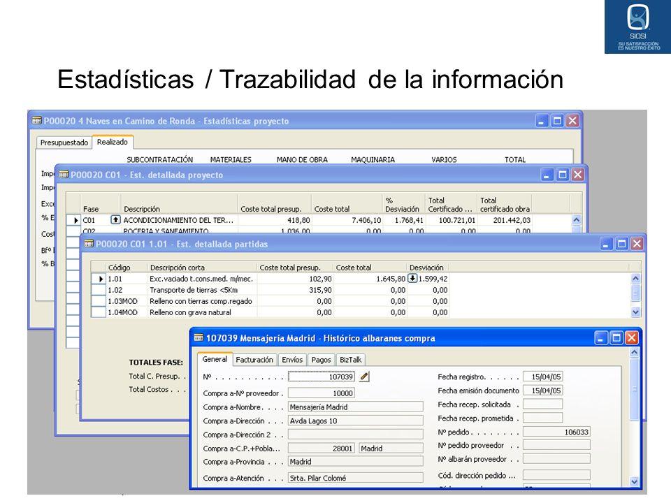 Estadísticas / Trazabilidad de la información