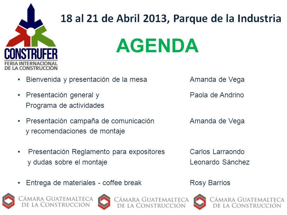 AGENDA Bienvenida y presentación de la mesa Amanda de Vega