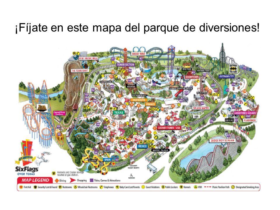 ¡Fíjate en este mapa del parque de diversiones!