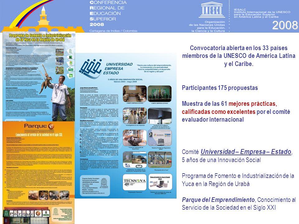2008 Convocatoria abierta en los 33 países miembros de la UNESCO de América Latina y el Caribe. Participantes 175 propuestas.
