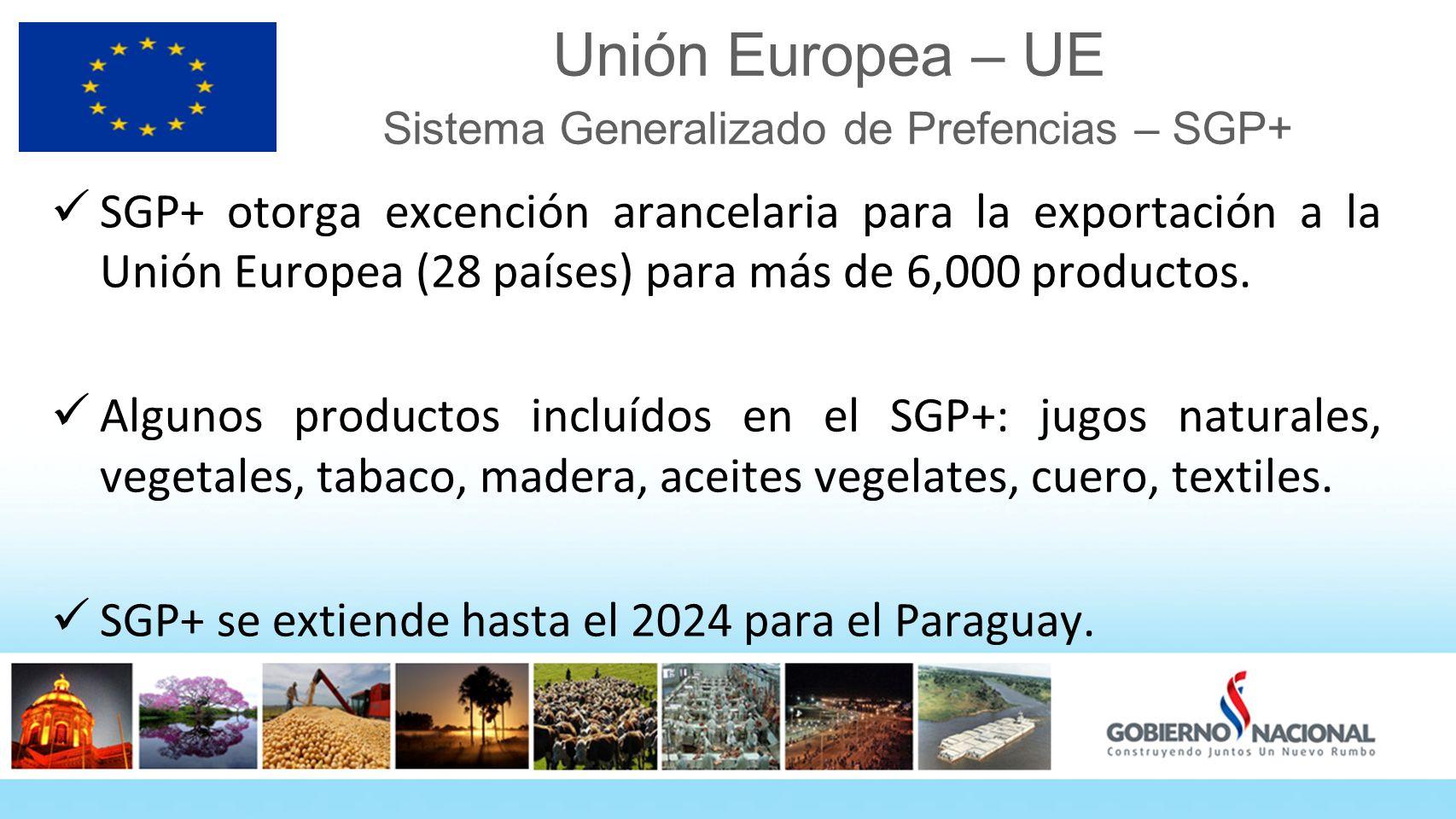 Unión Europea – UE Sistema Generalizado de Prefencias – SGP+