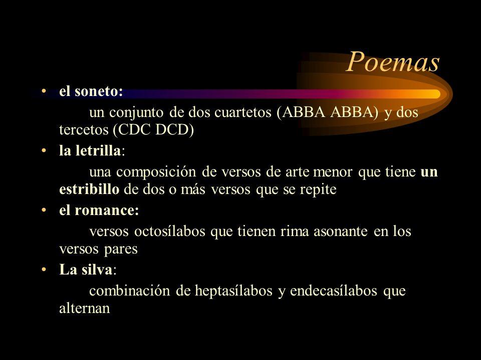 Poemasel soneto: un conjunto de dos cuartetos (ABBA ABBA) y dos tercetos (CDC DCD) la letrilla: