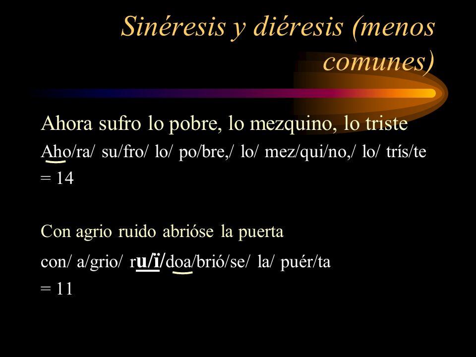 Sinéresis y diéresis (menos comunes)