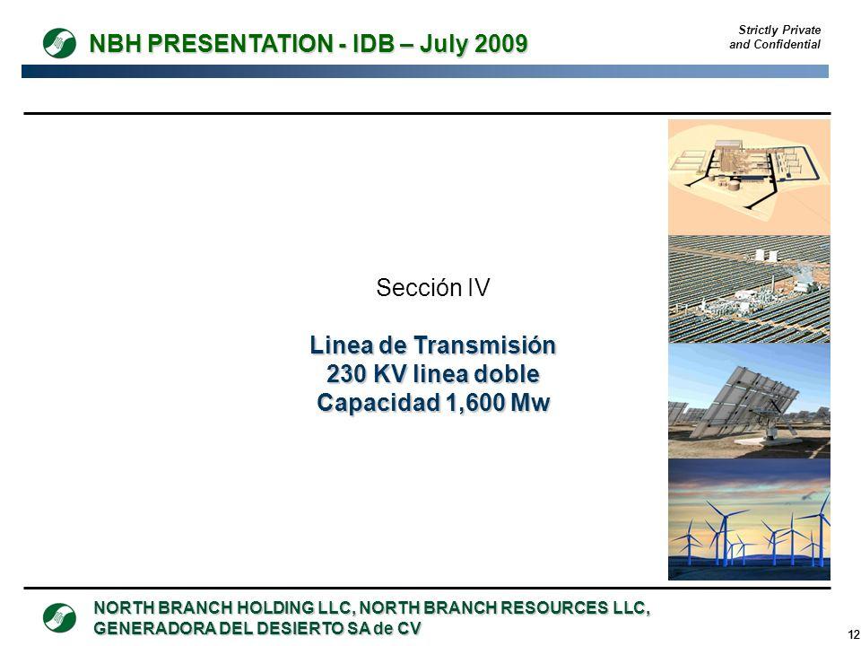 Linea de Transmisión 230 KV linea doble Capacidad 1,600 Mw