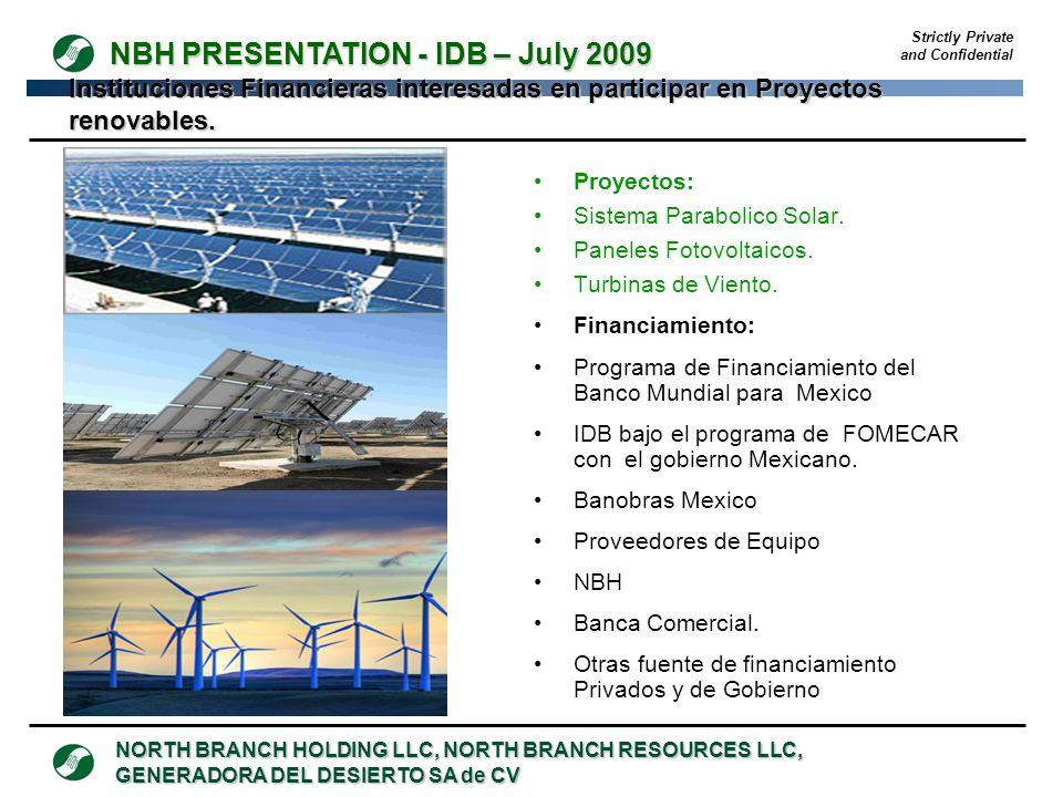 Instituciones Financieras interesadas en participar en Proyectos renovables.