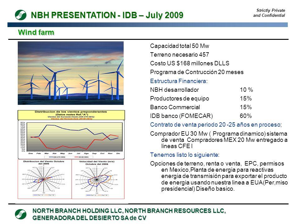 Wind farm Capacidad total 50 Mw Terreno necesario 457